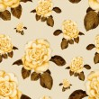 Photo: Hand-drawn vintage rose seamless pattern