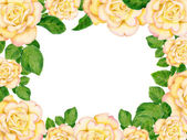 Hand-drawn frame with golden roses — Stock Photo