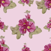 Hand-drawn seamless pattern with mallow flowers — Stock Photo