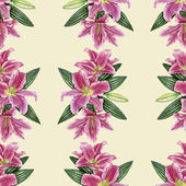 Hand-drawn lily seamless pattern — Stock Photo