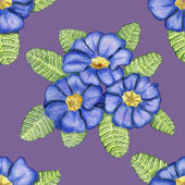 Hand-drawn pattern with primulas on lilac — Stock Photo