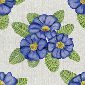Hand-drawn pattern with primulas on canvas — Stock Photo