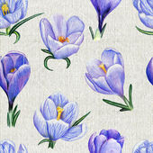 Hand-drawn pattern with crocuses on canvas — Stock Photo