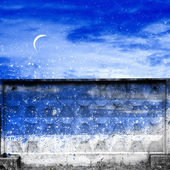 Night, the moon, and the wall — Stock Photo