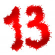 Number thirteen on a white background, number thirteen as red drops — Stock Photo