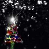 Decorated Christmas tree in the night — Fotografia Stock
