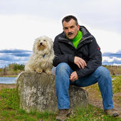 Dog and owner — Stock Photo