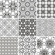 Set of seamless vintage floral pattern background — Stock Vector