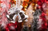 Decorated Christmas Garland with handbell — Stock Photo