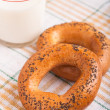 Stock Photo: Two bread-ring with milk
