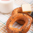 Two bread-ring with milk — 图库照片