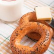 Two bread-ring with milk — Stok fotoğraf