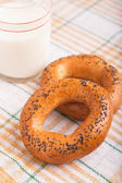 Two bread-ring with milk — Stock Photo