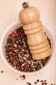 Different peppercorn in bowl with pepper mill — Stock Photo
