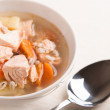 Fish soup with salmon and orge perle — Stock Photo