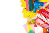 Assortment of means for cleaning and washing — Stock Photo