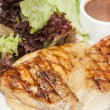 Hot grilled chicken with lettuce and sauce — Stock Photo #22586933
