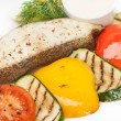 Hot roast fish with garnish of grilled color fresh vegetable — Stock Photo