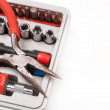 Open toolbox with screwdriver, heads and bit — Stock Photo