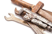 Old metal work hand tools with rust on white — Stock Photo