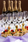 Catering serving buffet with canape and champagne — Stock Photo