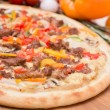 Hot pizza with garnish and components — Stok fotoğraf