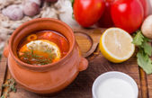 Soup saltwort with garnish in brown ceramic pot — Stock Photo