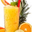 Long drink orange coctail with citruses — Stock Photo