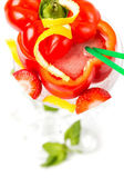 Long coctail in red pepper with decoration — Stock Photo