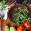 Background from mixed vegetables with wood bowl — Stock Photo