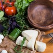 Background from mixed vegetables with wood bowl — Stock Photo #42921965