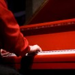 Hands of the pianist at the red piano — Stock Photo #24011935