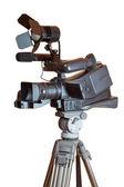 Professional video camera on a tripod — Stock Photo