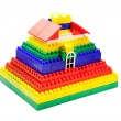Stock Photo: Toy house out of colored blocks