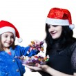 Mom treats her daughter candy — Foto Stock