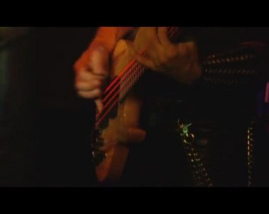 Hands of a rock musician with bass guitar — Stock Video