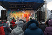 Show in the town square during the celebration of the new year — Foto de Stock