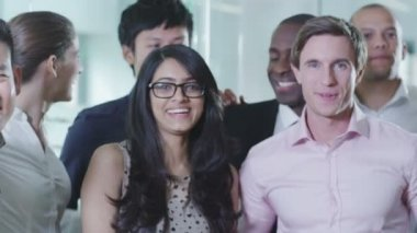 Portrait of a happy and casual young business team — Stock Video