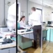 Time lapse montage of attractive young professionals in a busy modern office — Stock Video