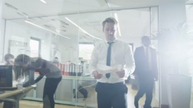 Young multi ethnic business team working together in a contemporary office — Stock Video
