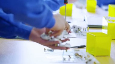 Team of male workers in a factory assembling electrical fittings — Stock Video
