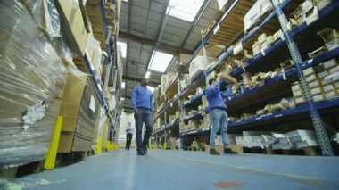 Team of male workers in warehouse or factory — Stock Video
