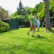 Happy group of young friends play together outdoors in the summer time — Stock Video #44377225