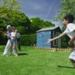 Family and friends of many generations playing sports in the garden on a sunny day — Stock Video #44377261