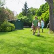 Happy group of young friends play together outdoors in the summer time — Stock Video #44377657