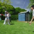 Family and friends of many generations playing sports in the garden on a sunny day — Stock Video