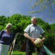 Family and friends of many generations having fun in the garden on a summer day — Stock Video #44379297