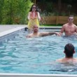 Friends enjoying pool party — Stock Video