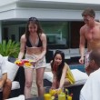 Mixed ethnicity friends enjoying pool party — Stock Video