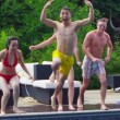 Friends jumping into swimming pool — Stock Video #44439551